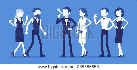 High Society Party. Group Of Rich, Powerful, And Fashionable People In Evening Dresses Enjoy Life At
