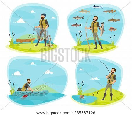 Fishing Icon Set With Fisherman And Fish. Fisherman Fishing From Boat And River Bank With Rod, Net A