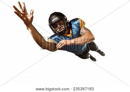 Active One American Football Player Isolated On White Background. Fit Caucasian Man In Uniform Jumpi