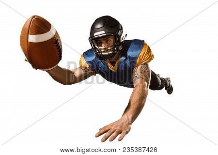 Active One American Football Player Isolated On White Background. Fit Caucasian Man In Uniform With