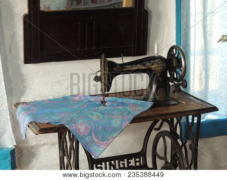 Moscow, May 08 2017 - Old Sewing Machine. Vintage Sewing Machine Old Style Made Of Metal With Floral