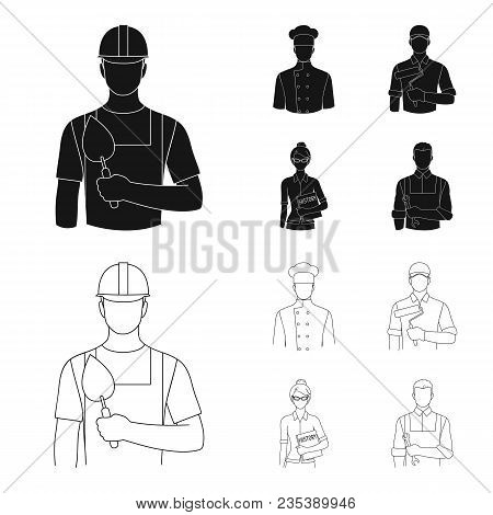Cook, Painter, Teacher, Locksmith Mechanic.profession Set Collection Icons In Black, Outline Style V