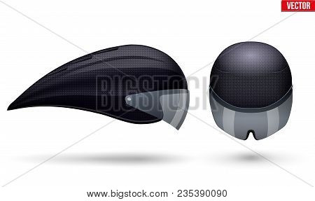 Set Of Time Trial Bicycle Helmet Models. Front And Side View. Equipment Of Road Bicycle Racing. Carb