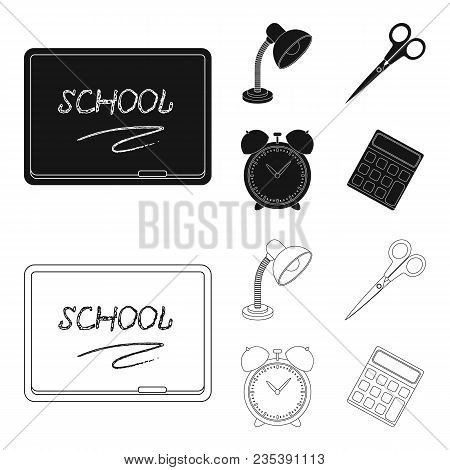 Table Lamp, Scissors, Alarm Clock, Calculator. School And Education Set Collection Icons In Black, O