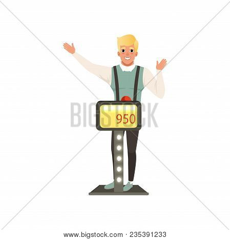 Smiling Man Taking Part At Quiz Show, Player Answering Questions Standing At Stand Vector Illustrati