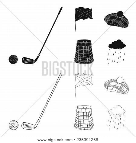 Flag, Kilt, Rainy Weather, Cap.scotland Country Set Collection Icons In Black, Outline Style Vector