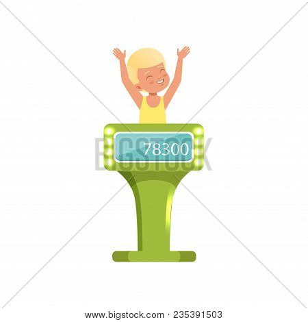 Smiling Boy Taking Part At Quiz Show, Young Player Answering Questions Standing At Stand Vector Illu
