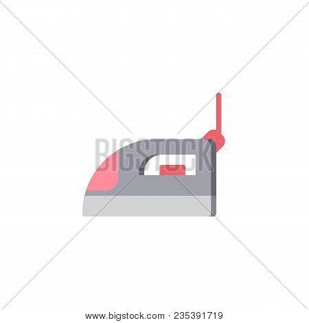 Iron Flat Icon, Vector Sign, Colorful Pictogram Isolated On White. Smoothing Iron Symbol, Logo Illus