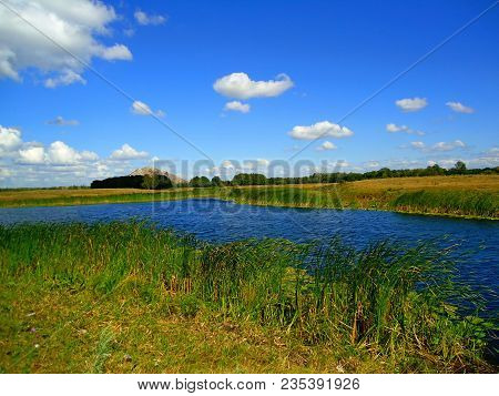 Green Spring River Or Lake Coast On Steppe. Summer Landscape Sun Light And Grass Flowers Against Pon