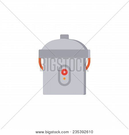 Multi Cooker Flat Icon, Vector Sign, Colorful Pictogram Isolated On White. Kitchenware Rice Cooker S