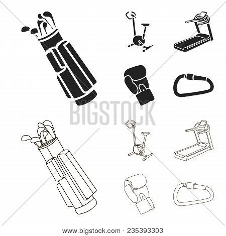 Exercise Bike, Treadmill, Glove Boxer, Lock. Sport Set Collection Icons In Black, Outline Style Vect
