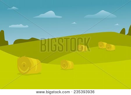 Rural Field Autumn Landscape From Agricultural Bales Of Hay Vector Nature Farm Countryside Illustrat