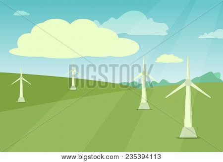 Windmill Landscape Rural Wind Energy Mill Farm Power Ecology Watermill Vector Illustration. Electric