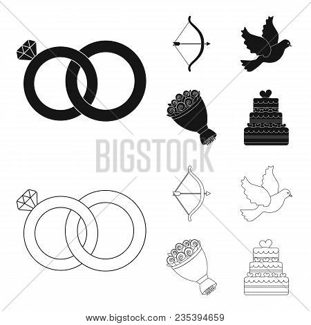 Arrow Cupid, Dove, Bouquet Of Flowers, Wedding Cake. Wedding Set Collection Icons In Black, Outline