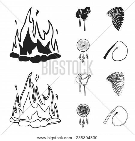 Saddle, Indian Mohawk, Whip, Dream Catcher.wild West Set Collection Icons In Black, Outline Style Ve