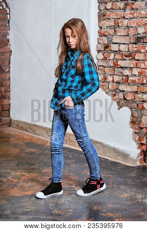 Young Teenager Poses For Advertising Youth Clothing, Store.female Model Hipster Child Modern 9-13 Ye