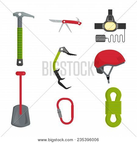 Mountain Climbing Equipment Tools And Accessories Icons Set With Ice Axe And Harness Abstract Isolat