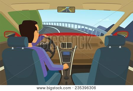 Driver Inside His Car. Vector Illustration In Cartoon Style. Driver Car, Automobile Transportation O