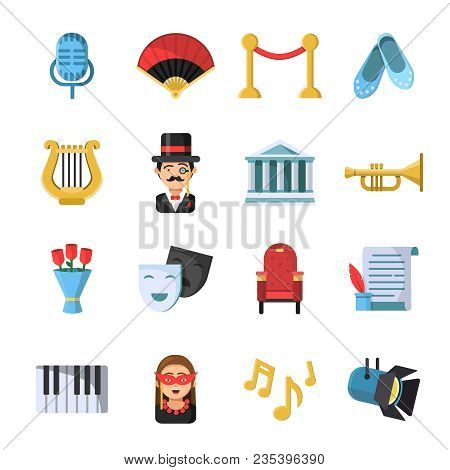 Culture Symbols. Masks And Others Theatre Icon Set. Vector Theater And Culture, Entertainment Comedy