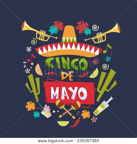 Cinco De Mayo Background Mexican Holiday Greeting Card Or Poster Design Flat Vector Illustration