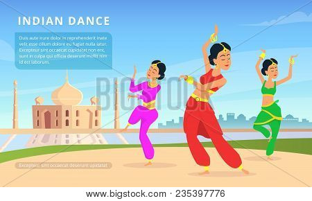 Urban Traditional Indian Landscape With Beautiful Dancers. Vector Indian Dancer Traditional Performa