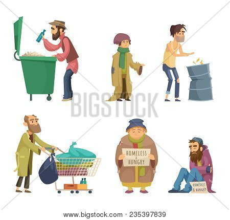 Poor And Homeless Adults People. Vector Characters Set. Homeless Dirty, Poor Beggar, Hungry Adult Wi