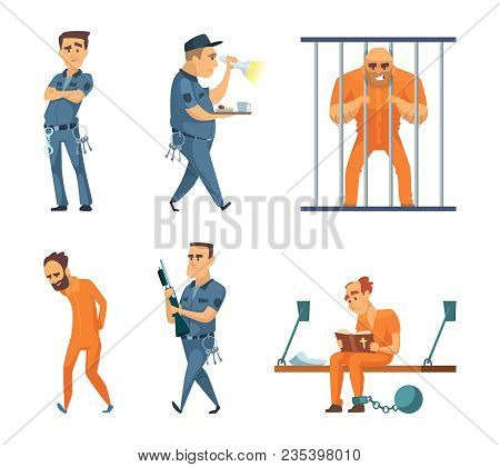 Characters Set Of Guards And Prisoners. Vector Police Security Guard And Character Prisoner Person I