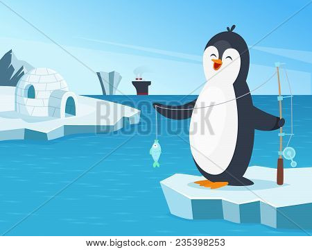 Illustration Of Little Penguin Fishing In The North. Penguin Fishing In Cold, Bird Animal Funny Fish