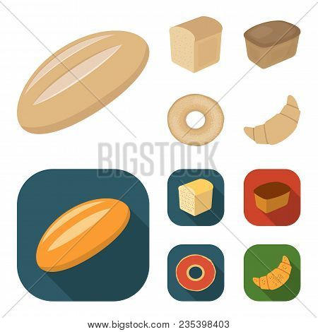 Loaf Cut, Bagel, Rectangular Dark, Half A Loaf.bread Set Collection Icons In Cartoon, Flat Style Vec