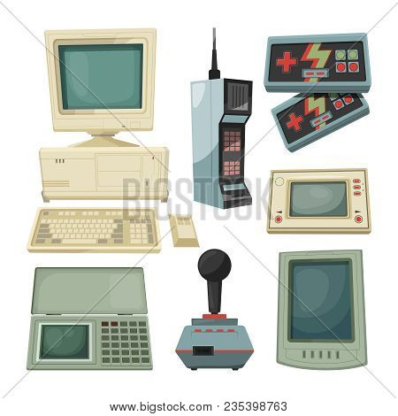 Retro Illustrations Of Technicians Gadgets. Vector Pictures Retro And Vintage Gadget, Device Video G