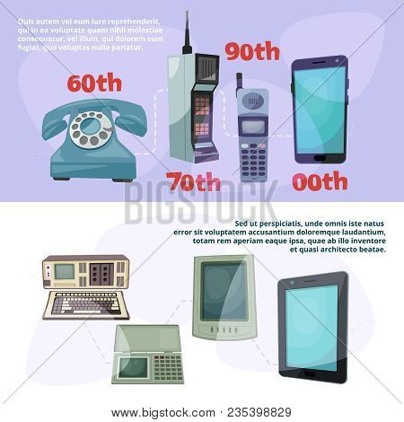 Visualization Of Technological Progress. Banners Set With Different Retro Gadgets. Device Gadget Pro