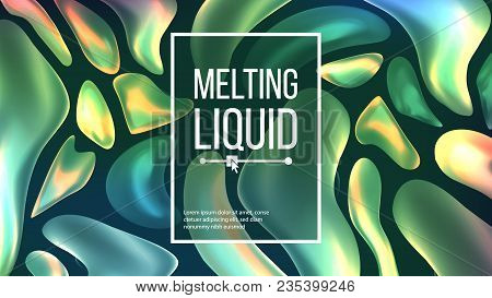 Fluid Liquid Background Vector. Trendy Cover. Liquid 3d Gradient Fluid Shapes Drops. Chemical Illust