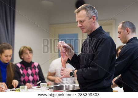 Belarus, Minsk, March 21, 2017. Culinary School. An Open Lesson On French Cooking. The Cook Teaches