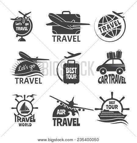 Vector Label Or Logos Forma Travelling Theme. Monochrome Pictures Of Airplanes. Illustration Of Trav