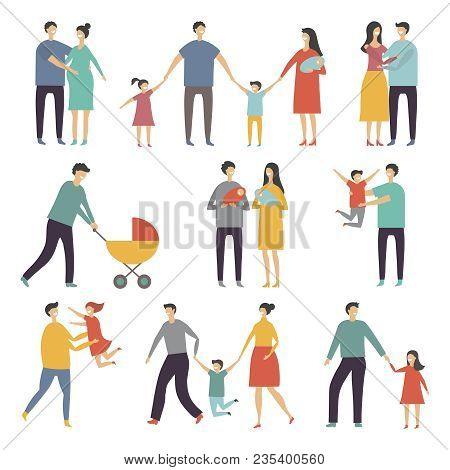 Stylized Illustrations Of Happy Family. Adults And Kids. Vector Family Together Father And Mother