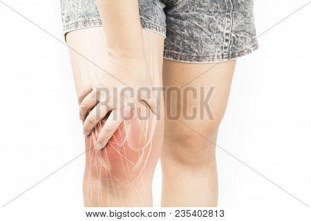 Knee Muscle Pain White Background Knee Injury