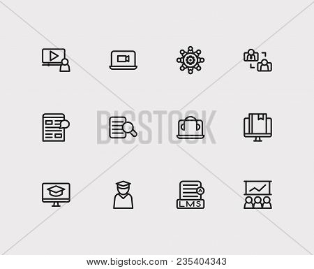 Webinar Icons Set. Development Training And Webinar Icons With Content E-material, Video Webinar And