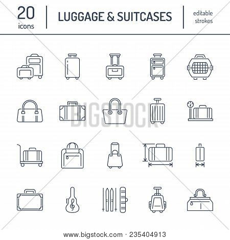 Luggage Flat Line Icons. Carry-on, Hardside Suitcases, Wheeled Bags, Pet Carrier, Travel Backpack. B
