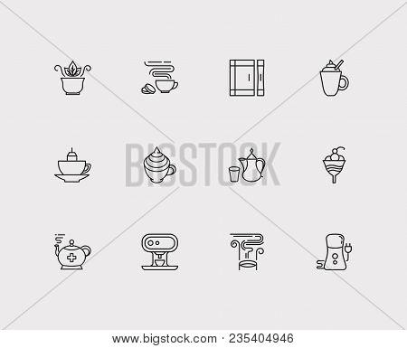 Coffee Icons Set. Coffee With Cream And Coffee Icons With Mug With Teabag, Green Tea And Coffee Grin