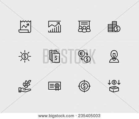 Investment Icons Set. Investment Target With Services, Income And Agriculture Investment. Set Of Dep