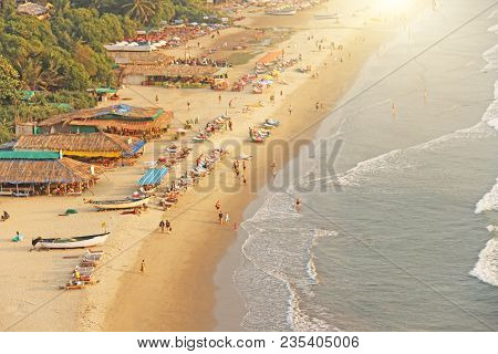 Arambol Beach. View From The Sky, From  Above, Aerophoto, Point Of View. View Of The Beach. Long Bea