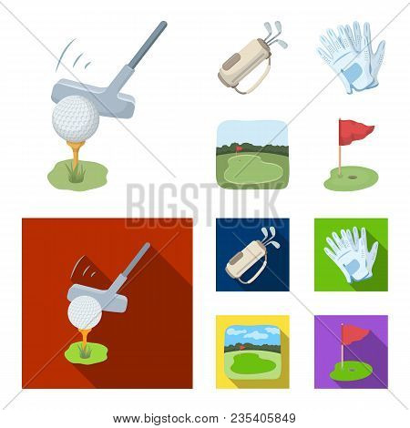 A Ball With A Golf Club, A Bag With Sticks, Gloves, A Golf Course.golf Club Set Collection Icons In