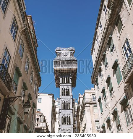 Santa Justa Elevator In Lisbon, Portugal. The Elevator Was Built To Connect Baixa Pombalina And Chia
