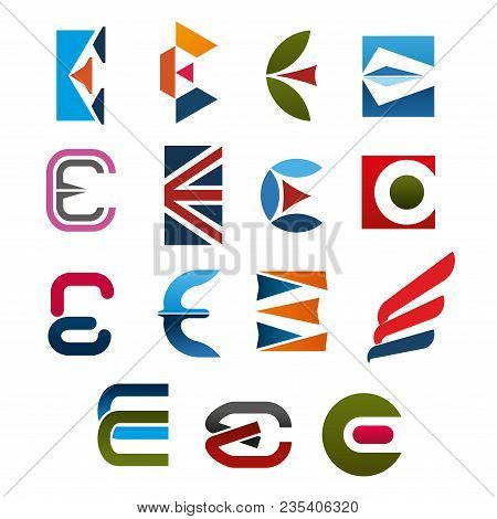 Letter E Icon Set. E Alphabet Symbol, Composed Of Red, Green, Orange And Blue Geometric Figures And