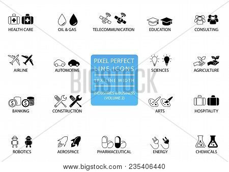 Pixel perfect thin line icons and symbols of various industries / business sectors like telecommunications, chemicals, aerospace, automotive, banking, consulting poster