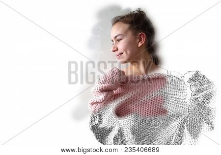Beautiful portrait of thirteen year old girl in pink knitted sweater smiling shy. Drawing and brushed In photo combination with copy space