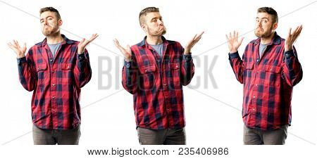 Young man doubt expression, confuse and wonder concept, uncertain future shrugging shoulders isolated over white background, collage composition