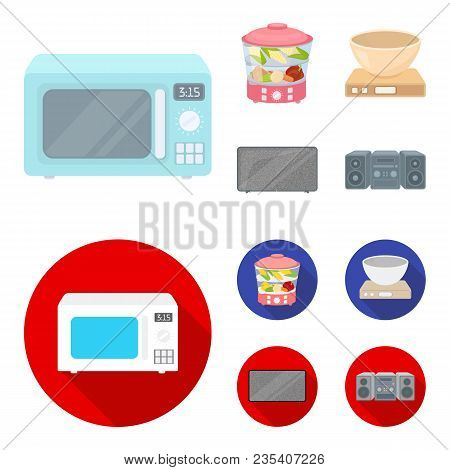 Steamer, Microwave Oven, Scales, Lcd Tv.household Set Collection Icons In Cartoon, Flat Style Vector