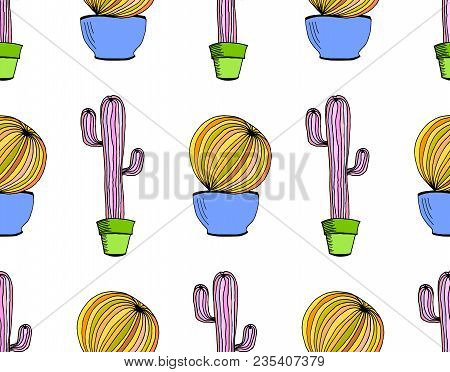 Vector Cactus Background. Seamless Pattern With Cactus In Pot. Cartoon Hand Drawn Cactus On White Ba