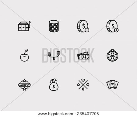 Gambling Icons Set. Gamble Risk And Gambling Icons With Fortune Wheel, Slot Machine And Bet. Set Of